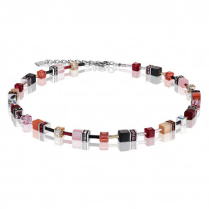Geo Cube Collier, 2838/10-0326 Rot-Rosa-Beige #