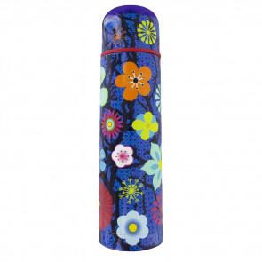"""Thermosflasche """"KEEP COOL"""" blue flower"""