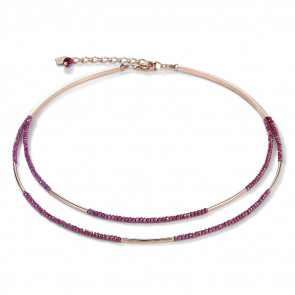 Collier Wasserfall, small, 4998/10-0300 Edelstahl roségold & Glas, rot